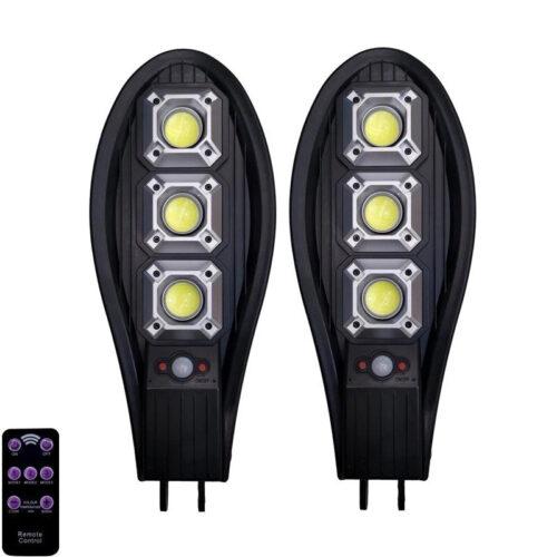 2бр. Соларна LED Лампа 600W IP65 със стойка и дистанционно 3