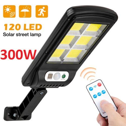 3 броя 300W LED Соларна лампа COB със сензор за движение, стойка и дистанционно 4