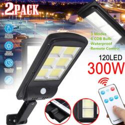 4 броя 300W LED Соларна лампа COB със сензор за движение, стойка и дистанционно 5