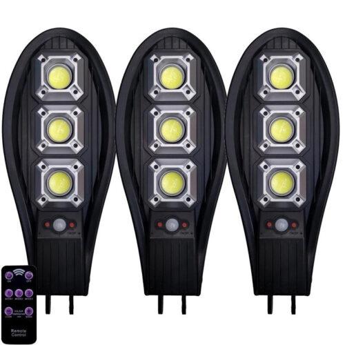 3бр. Соларна LED Лампа 600W IP65 със стойки и дистанционно 3