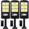 3 броя 300W LED Соларна лампа COB със сензор за движение, стойка и дистанционно 2