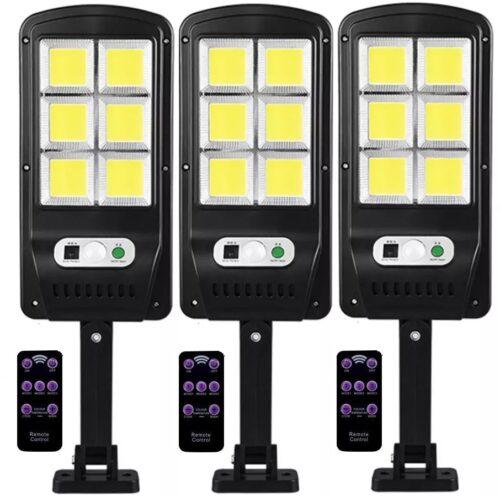 3 броя 300W LED Соларна лампа COB със сензор за движение, стойка и дистанционно 3