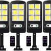 4 броя 300W LED Соларна лампа COB със сензор за движение, стойка и дистанционно 1