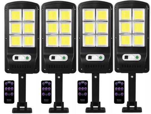 4 броя 500W LED Соларна лампа COB със сензор за движение, стойка и дистанционно 3