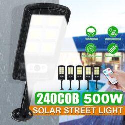 10 броя 500W LED Соларна лампа COB със сензор за движение, стойка и дистанционно 8