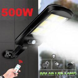 10 броя 500W LED Соларна лампа COB със сензор за движение, стойка и дистанционно 10