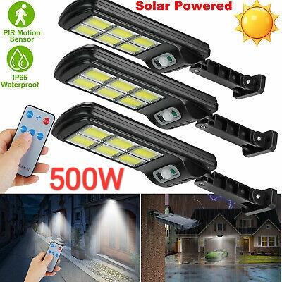 3 броя 500W LED Соларна лампа COB със сензор за движение, стойка и дистанционно 3