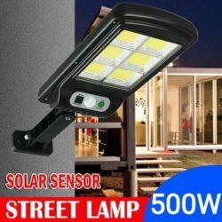 10 броя 500W LED Соларна лампа COB със сензор за движение, стойка и дистанционно 11