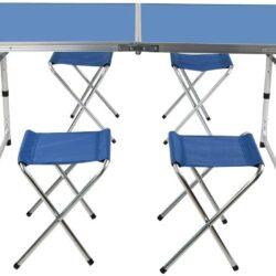 Комплект – Сгъваема синя маса и 4 стола 5