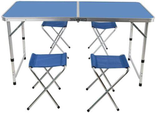 Комплект – Сгъваема синя маса и 4 стола 4