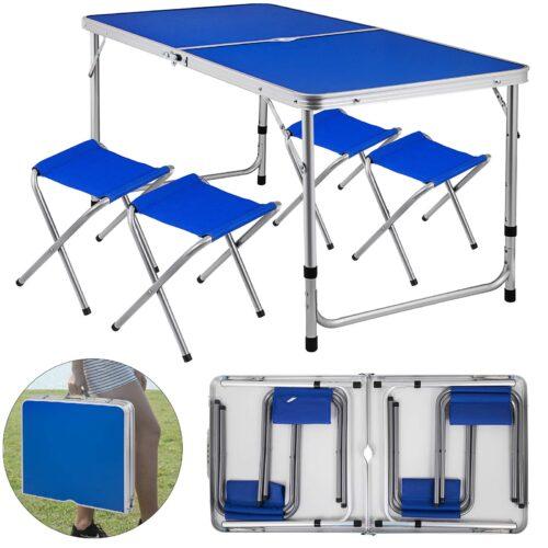 Комплект – Сгъваема синя маса и 4 стола 3