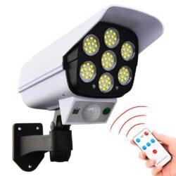 2бр. LED Соларна Лампа тип Камера с дистанционно 180W Мощност 77LED 15