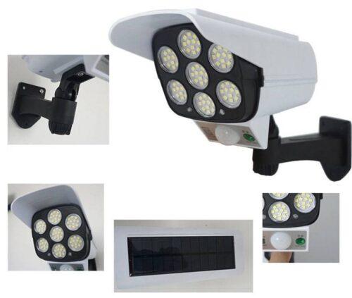 LED Соларна Лампа тип Камера с дистанционно 180W Мощност 77LED 8