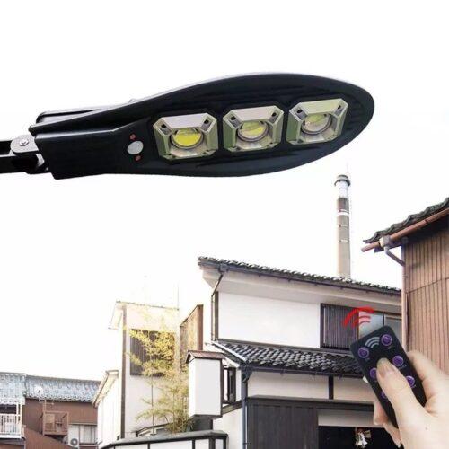 3бр. Соларна LED Лампа 600W IP65 със стойки и дистанционно 5