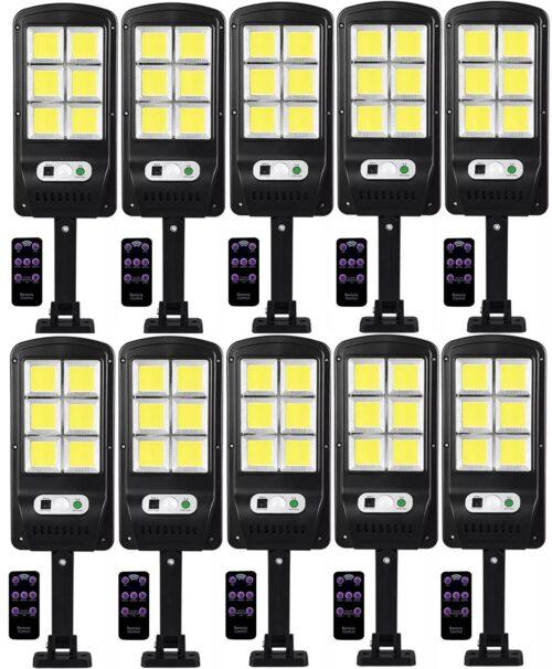 10 броя 500W LED Соларна лампа COB със сензор за движение, стойка и дистанционно 3