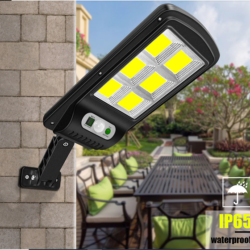 10 броя 500W LED Соларна лампа COB със сензор за движение, стойка и дистанционно 9