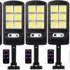 5 броя 500W LED Соларна лампа COB със сензор за движение, стойка и дистанционно 2