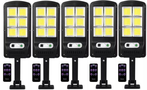 5 броя 500W LED Соларна лампа COB със сензор за движение, стойка и дистанционно 3