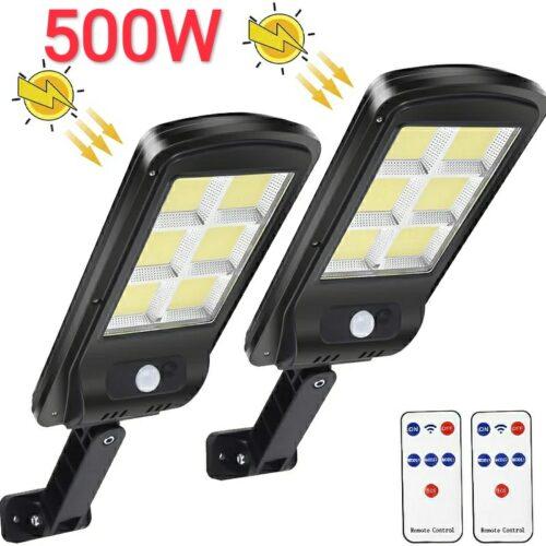 2 броя 500W LED Соларна лампа COB със сензор за движение, стойка и дистанционно 3