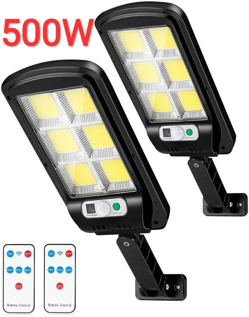2 броя 500W LED Соларна лампа COB със сензор за движение, стойка и дистанционно 2